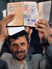 Ahmadinejad showing papers during election